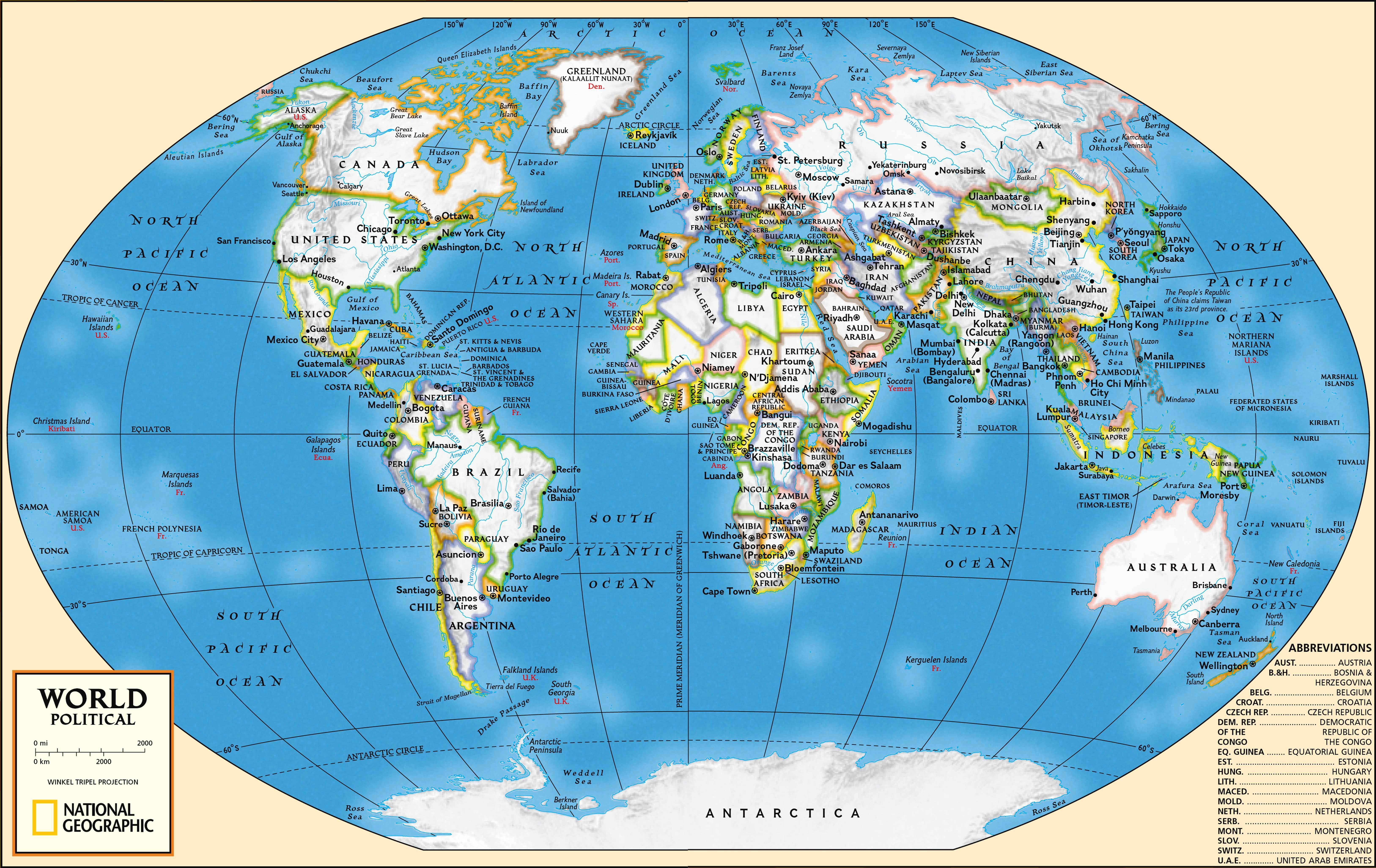 Detailed map of the World on MapsRFcom